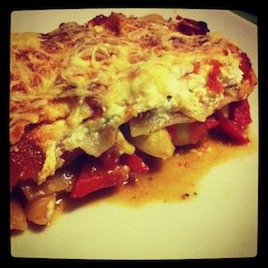 volkoren lasagne met ricotta, paprika en champignon
