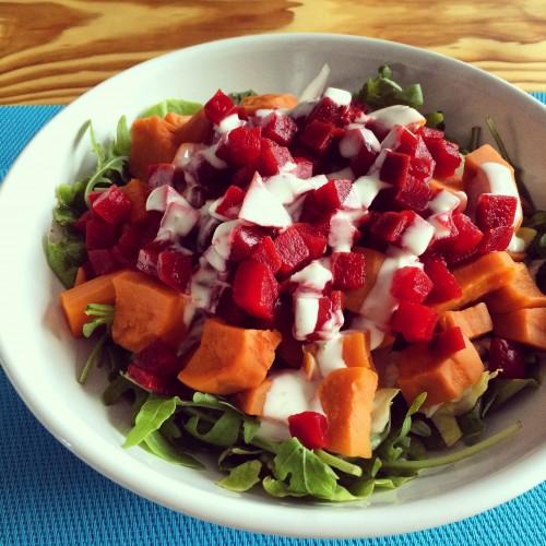 salade met zoete aardappel, bietjes en witlof